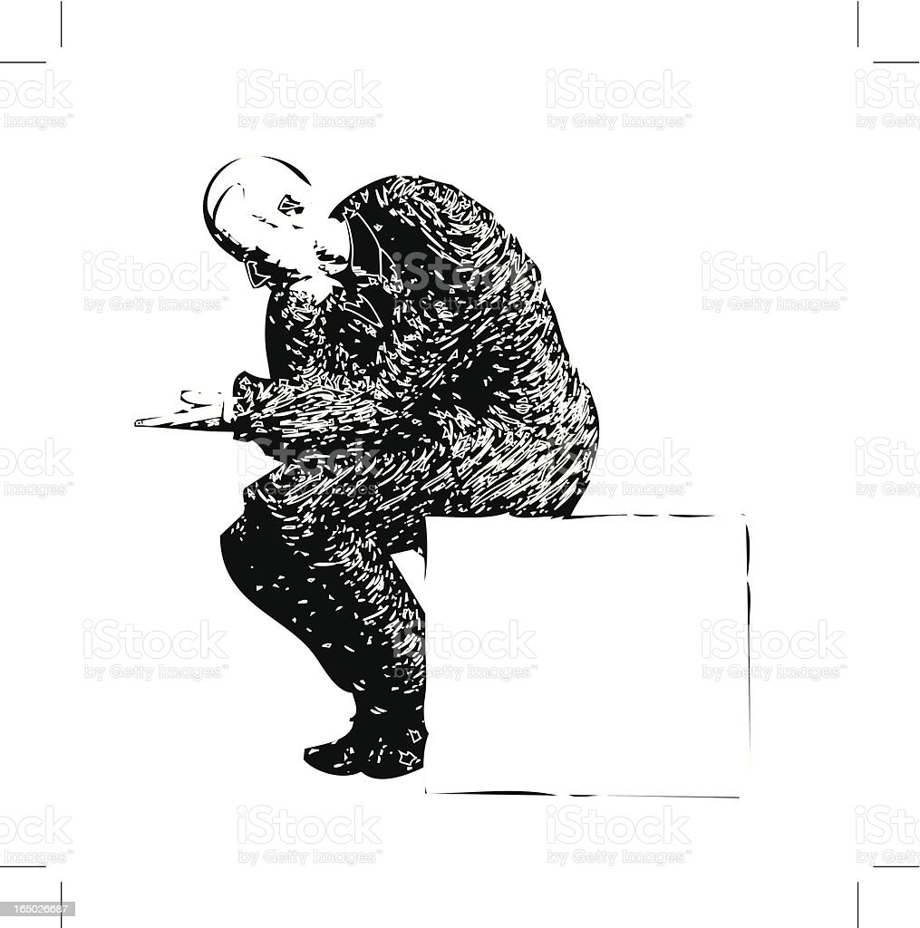 Businessman Begging (or Pondering?) royalty-free stock vector art