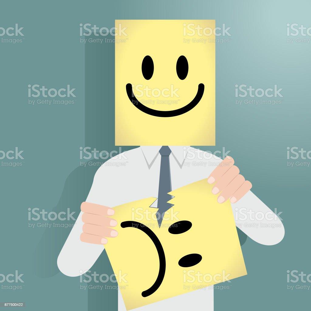 Empresário atrás de uma máscara feliz rasgando uma máscara infeliz - ilustração de arte em vetor