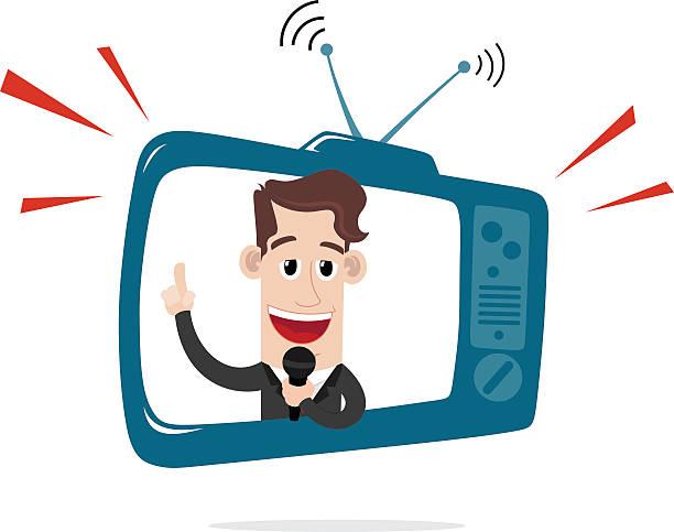 Geschäftsmann hinter dem TV-Bildschirm – Vektorgrafik