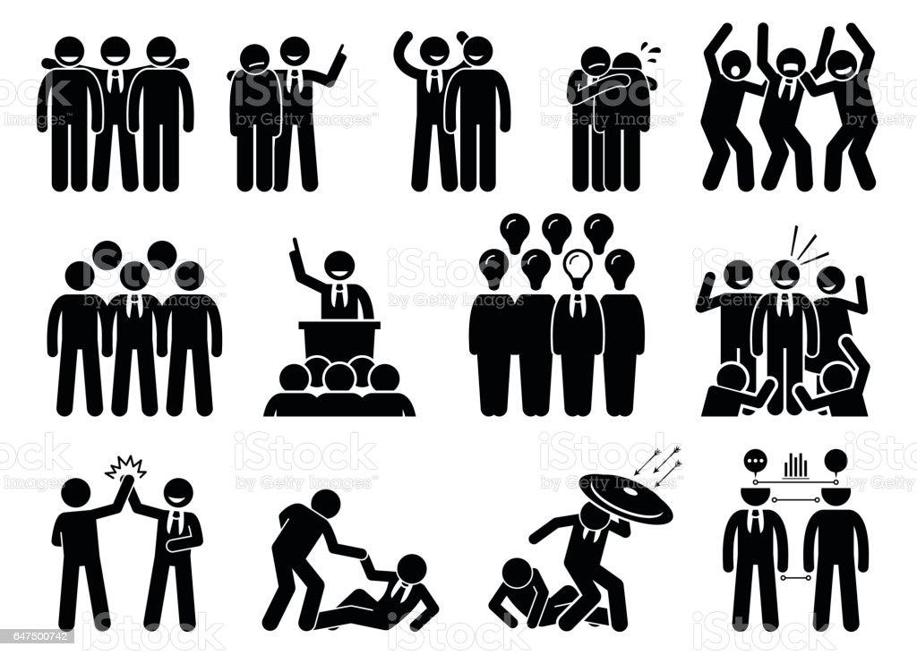 Businessman being a leader. vector art illustration