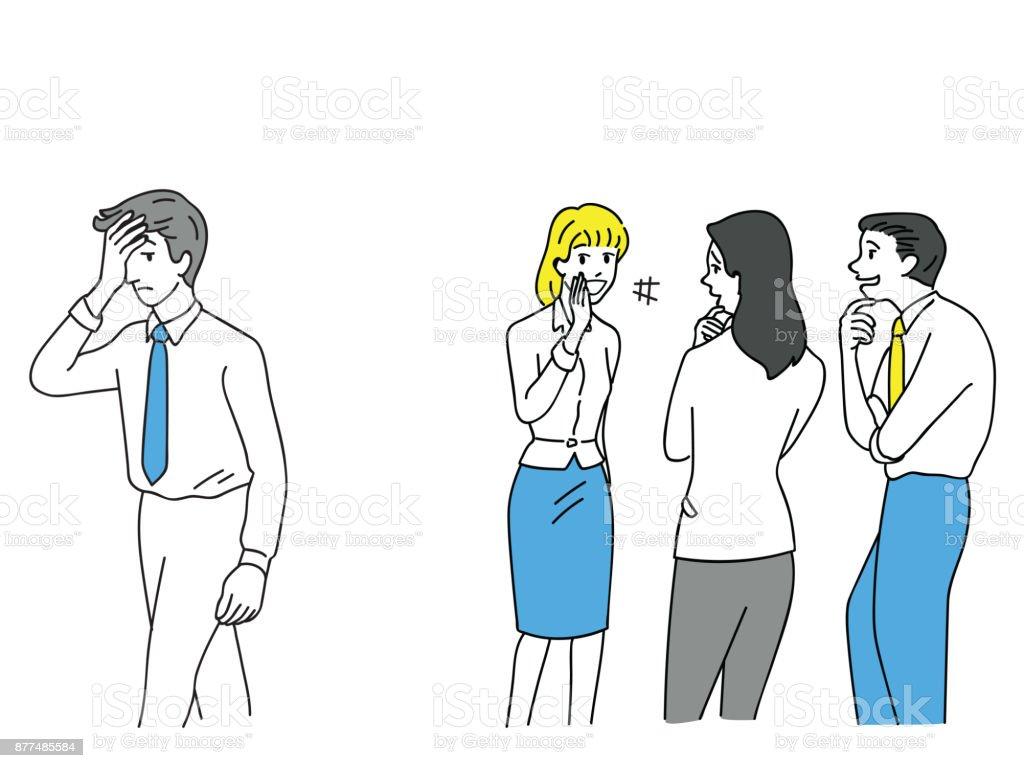 Empresario se acoso oficinistas - ilustración de arte vectorial