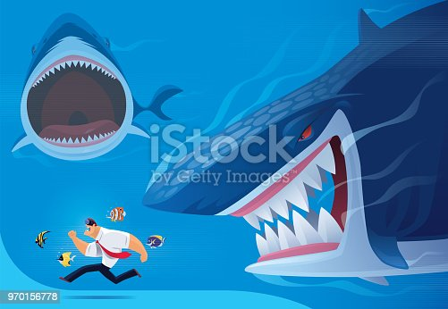 vector illustration of businessman being chased after by angry sharks via VR goggles