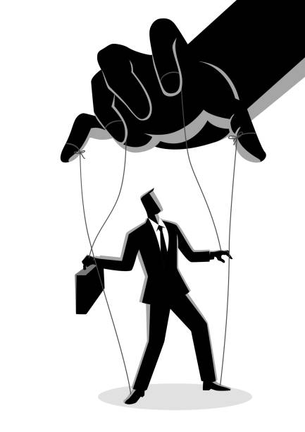 businessman being controlled by puppet master - kukiełka stock illustrations