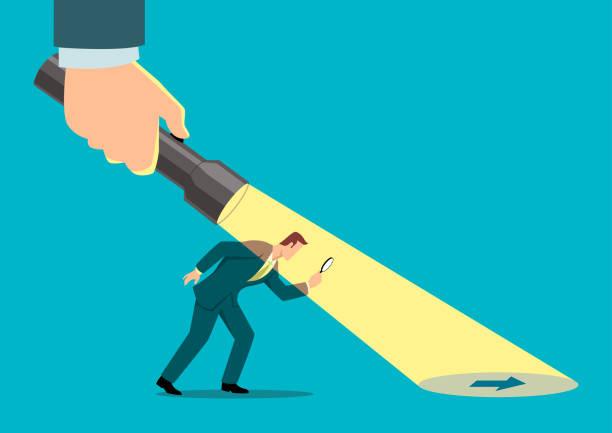 illustrazioni stock, clip art, cartoni animati e icone di tendenza di businessman being guided by a hand holding a flashlight - guida turistica professione