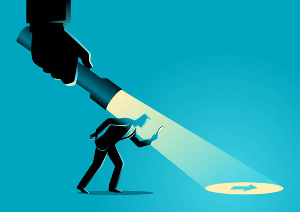 Businessman being guided by a hand holding a flashlight Business concept illustration of a businessman being guided by a hand holding a flashlight uncovering arrow sign. detective stock illustrations