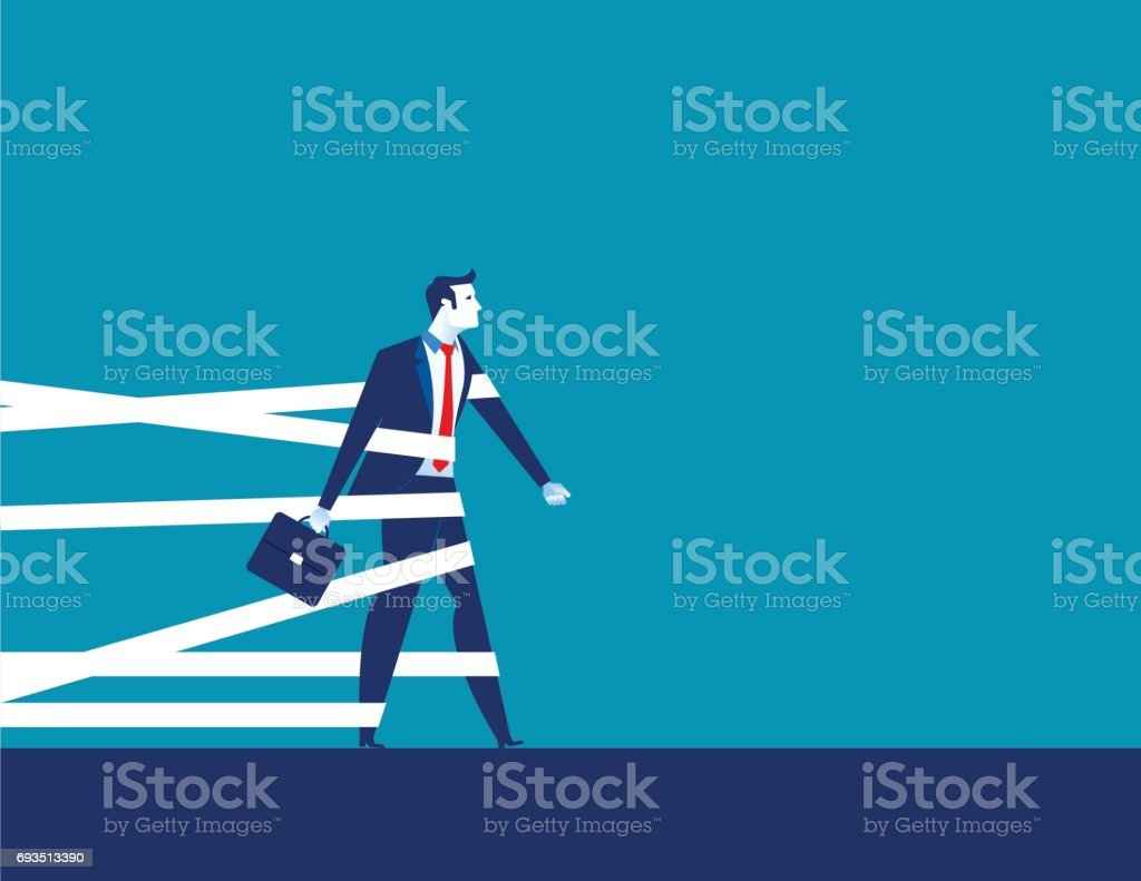 Businessman being held back by tape. Concept business vector. vector art illustration