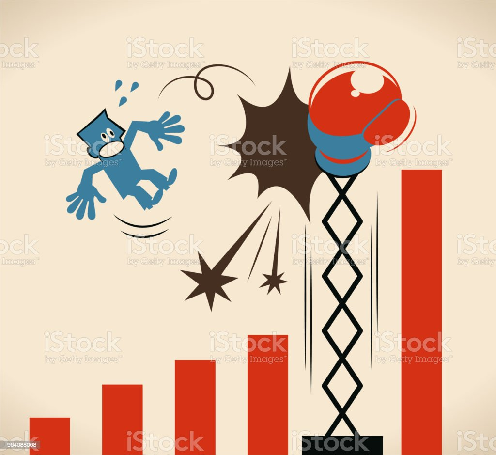 Businessman being hit by a big boxing glove and falling from growing rate graph vector art illustration