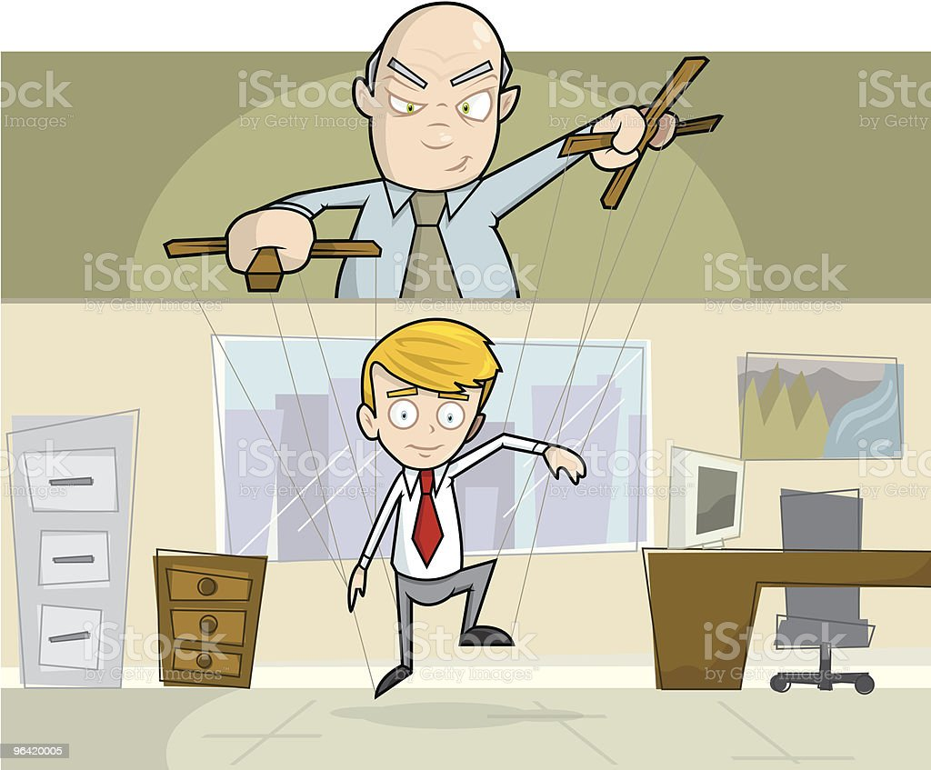 Businessman Being Operated As Puppet in Office vector art illustration