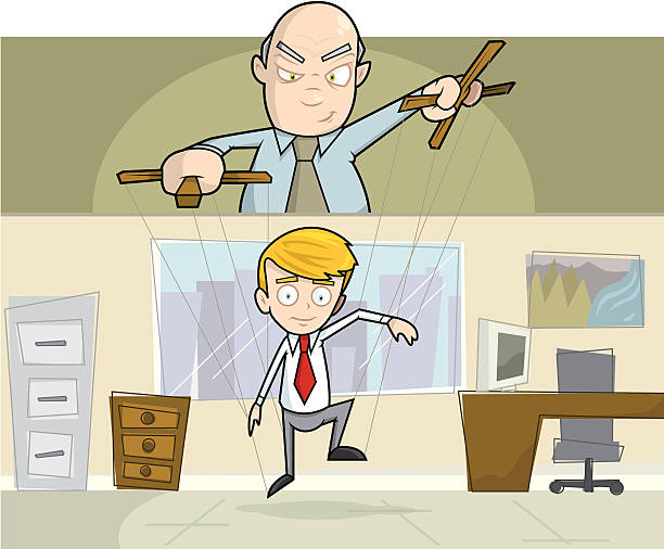 businessman being operated as puppet in office - old man puppet stock illustrations, clip art, cartoons, & icons