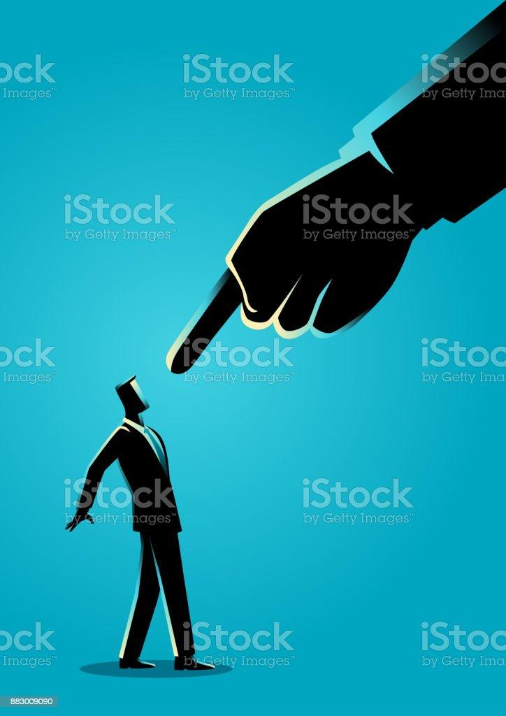 Empresario, siendo señalado por dedo gigante - ilustración de arte vectorial