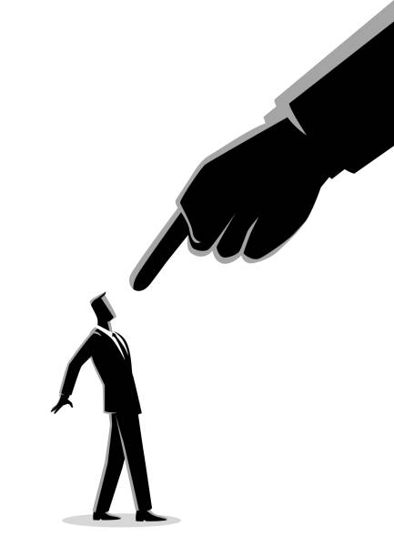 businessman being pointed by giant finger - wine stock illustrations