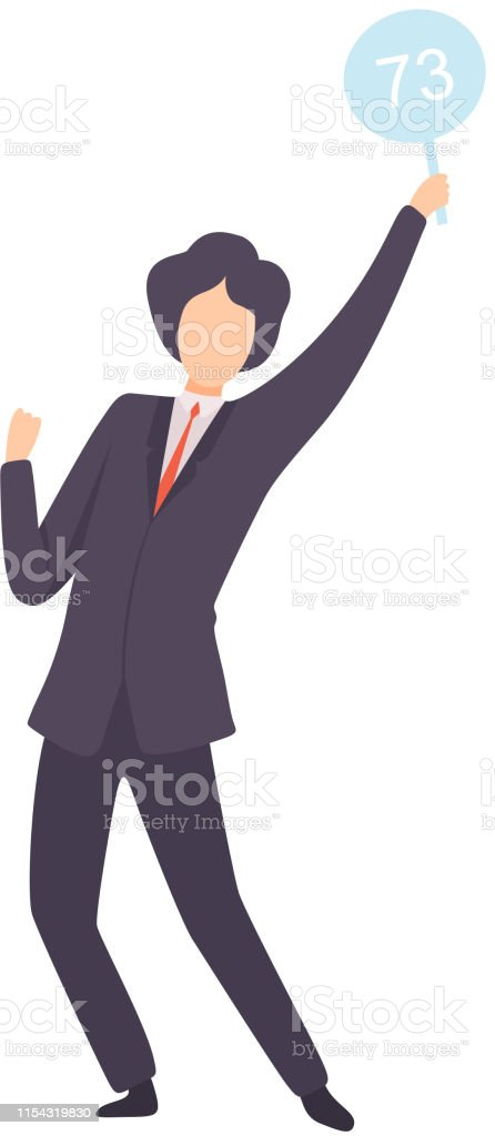 Businessman Bidding In Public Auction House Male Bidder Standing And Rising Raising Auction Paddle With Number To Buy Piece Of Art Vector Illustration Stock Illustration Download Image Now Istock