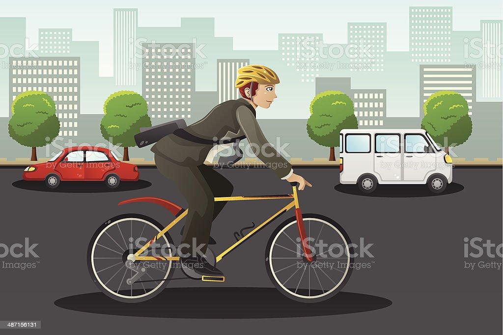 Businessman biking in the city vector art illustration