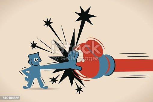 istock Businessman (Man) Block Jabs & Straight Punches (Big Boxing Glove) 810485586