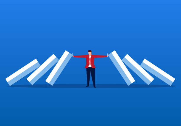 Businessman blocking domino effect Businessman blocking domino effect endurance stock illustrations