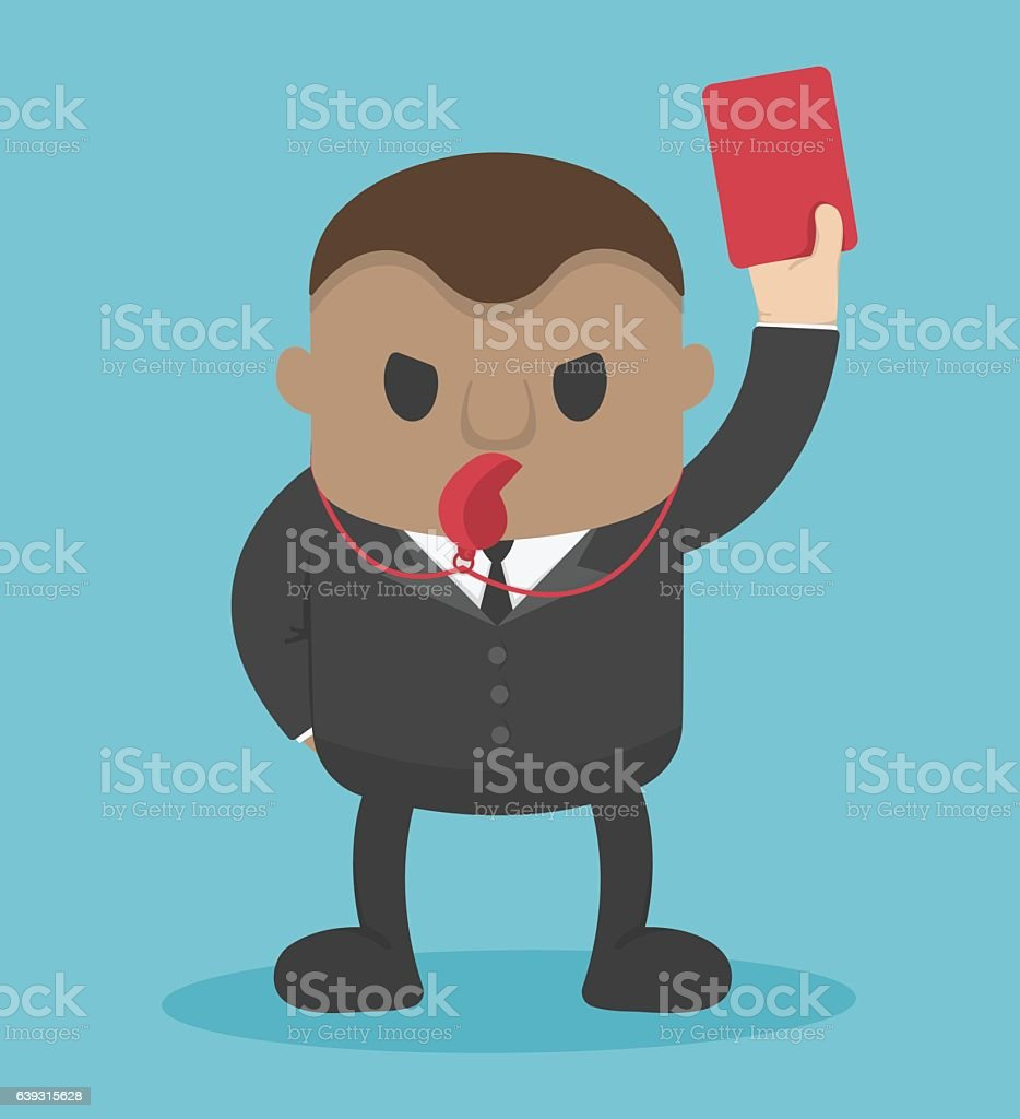 businessman blow  whistle, lift red card vector art illustration