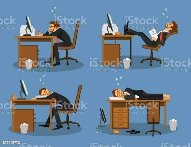 Businessman bored tired exhausted sleeping in the office scene set vector id827246770?b=1&k=6&m=827246770&s=612x612&h=dcbkeyjyr8hkolrzwvvv4qs3bz0tohy5eggydo07k48=