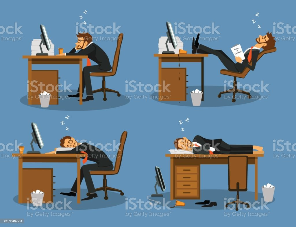 Businessman bored tired exhausted sleeping in the office scene Set. Humor office life vector art illustration