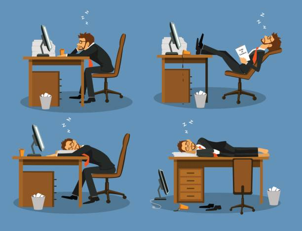 Businessman bored tired exhausted sleeping in the office scene Set. Humor office life Businessman bored tired exhausted sleeping in the office scene Set. Humor office life boredom stock illustrations