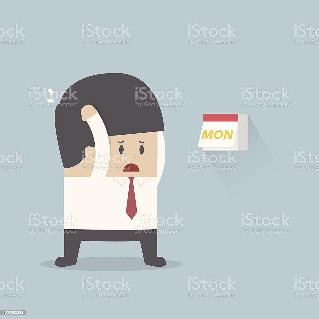 Businessman boring monday vector art illustration