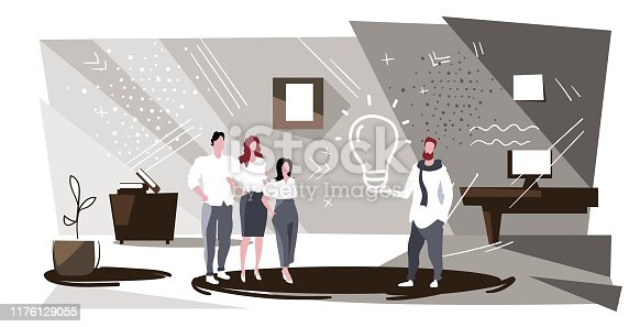 businessman boss holding light lamp discussing with colleagues during meeting businesspeople team generating creative idea brainstorming concept successful teamwork sketch horizontal full length vector illustration