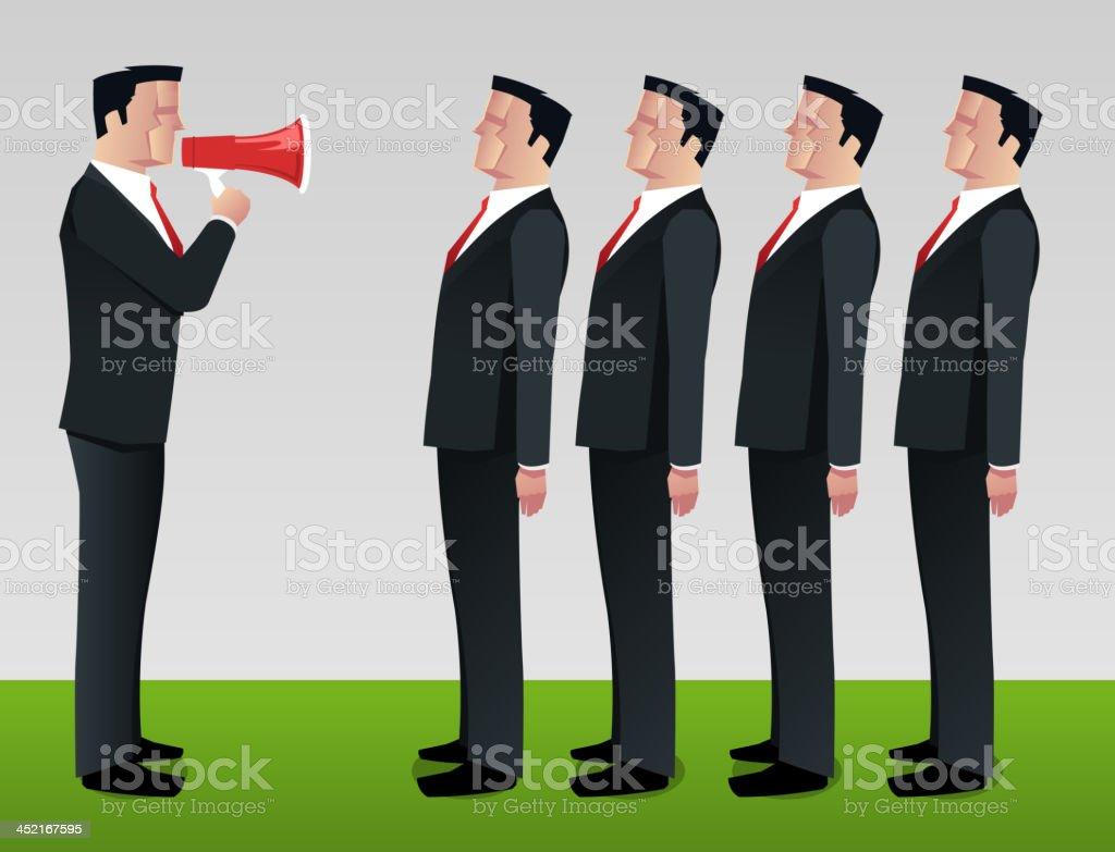 Businessman boss speaking on the megaphone royalty-free stock vector art