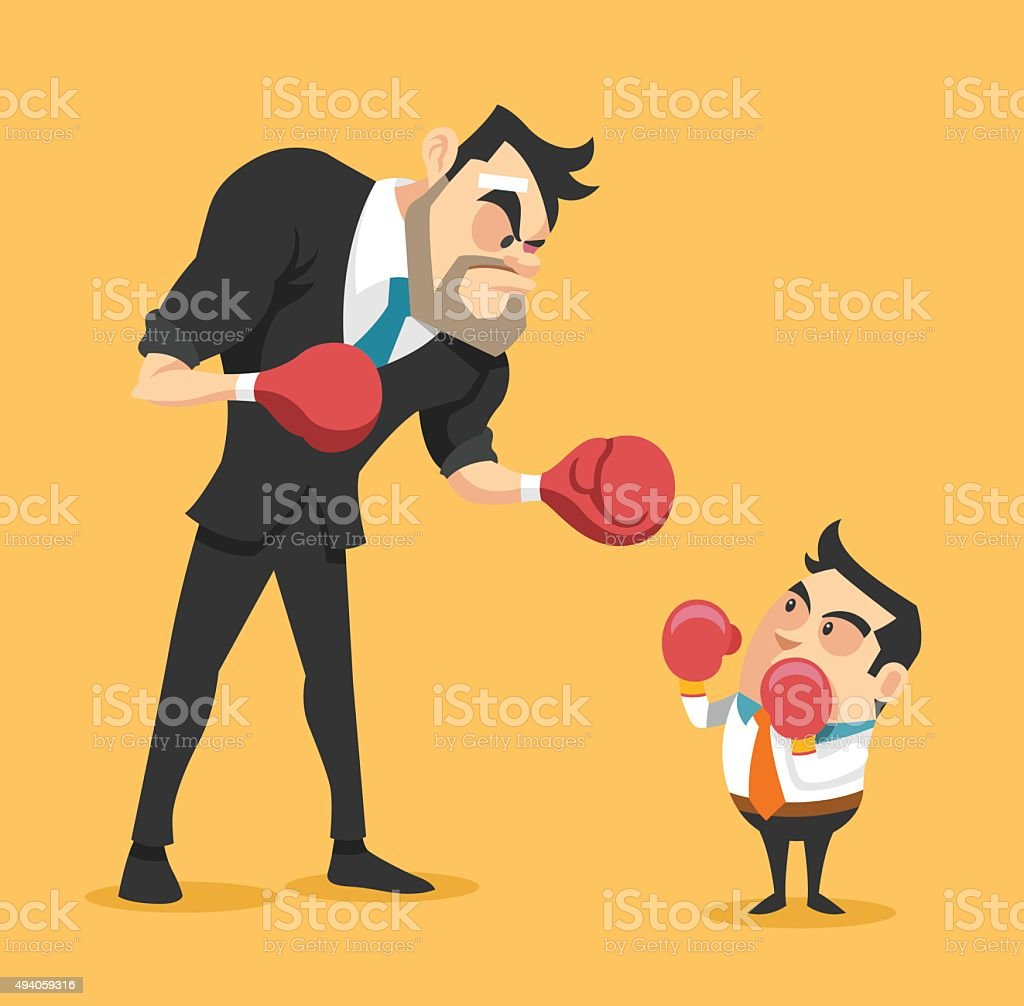 Businessman boxing against a giant businessman. Vector flat illustration vector art illustration