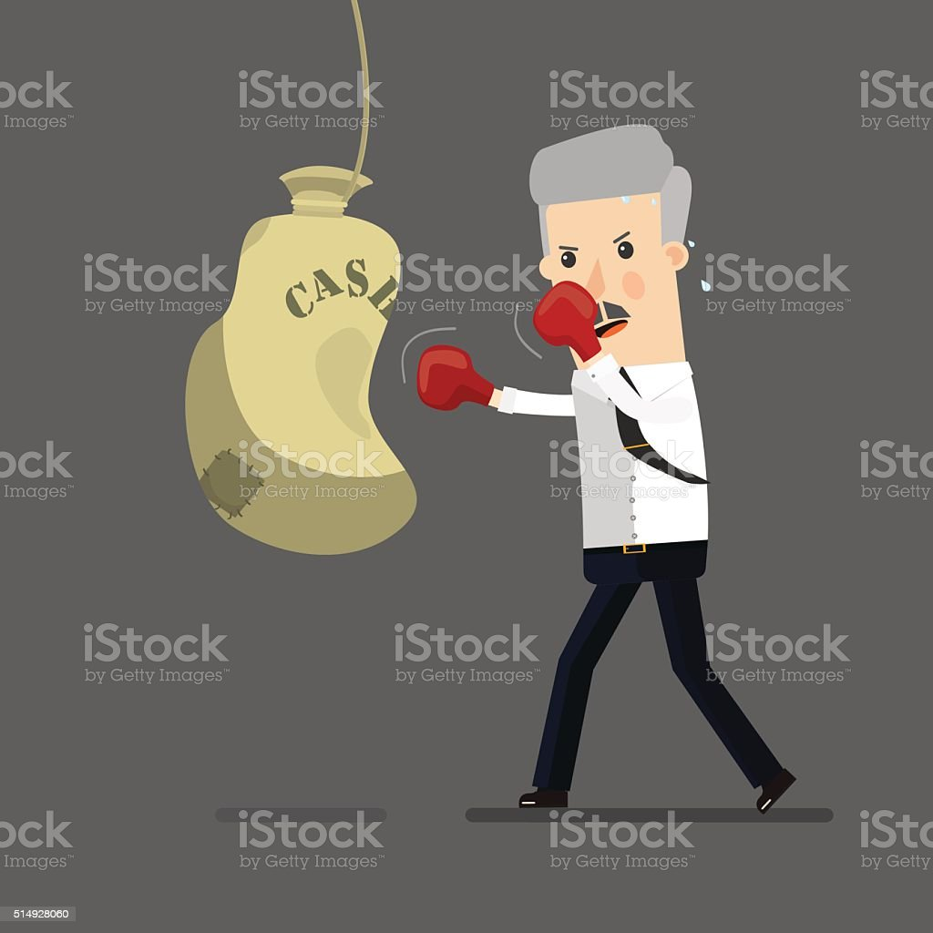 Businessman boxing, training. Business concept cartoon illustration vector art illustration