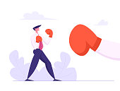 Businessman Boxing with Big Glove. Man Fighting in Boxing Gloves. Business Competition, Challenge, Leadership Concept with Character Fight. Vector flat illustration