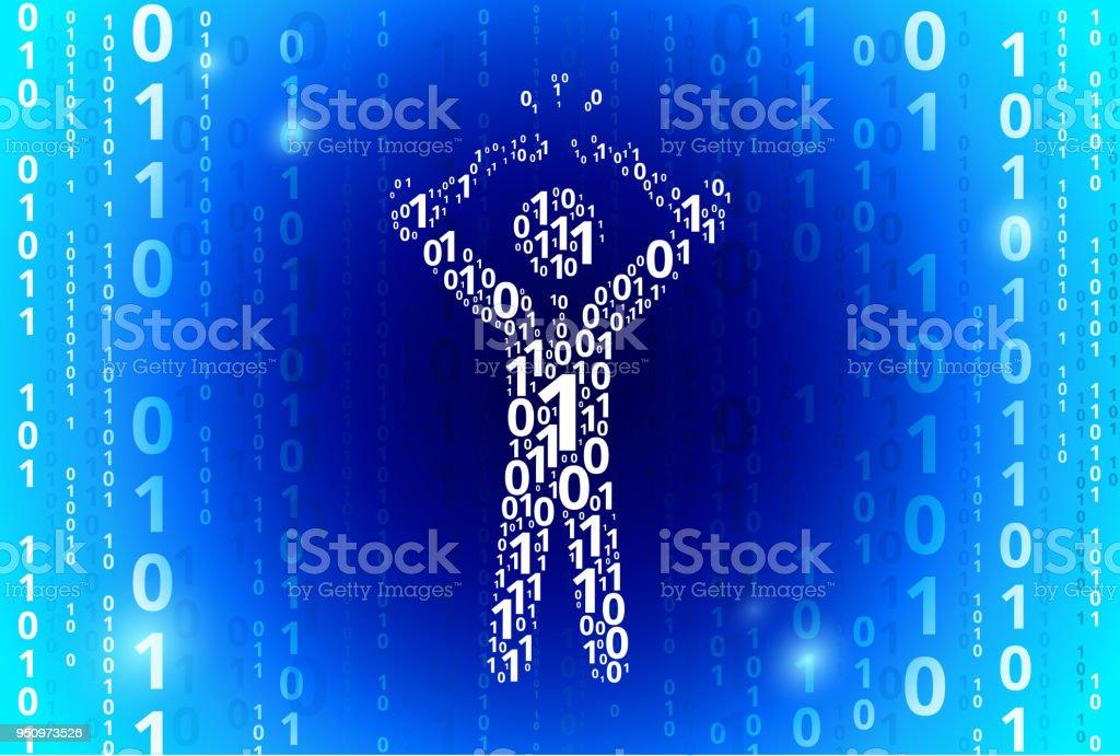 Businessman Breaking Shackles Binary Code Blue Vector Pattern Background vector art illustration