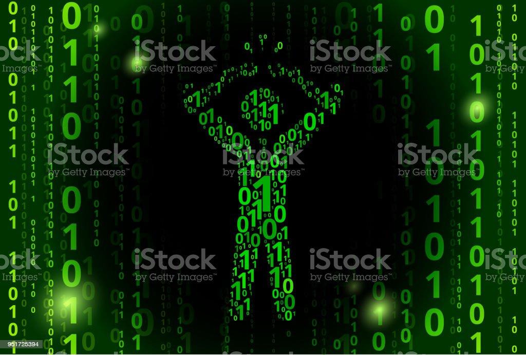 Businessman Breaking Shackles Binary Code Vector Pattern Background vector art illustration