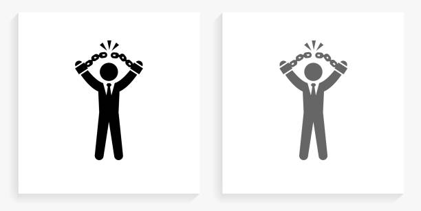 Businessman Breaking Shackles Black and White Square Icon vector art illustration