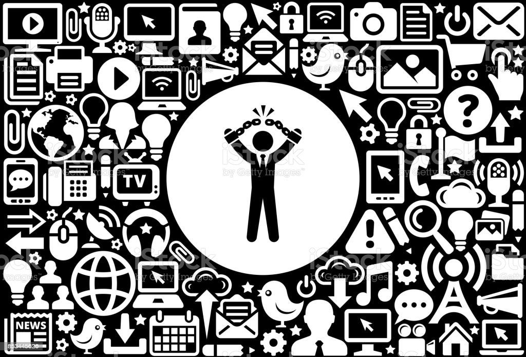Businessman Breaking Shackles Icon Black and White Internet Technology Background vector art illustration