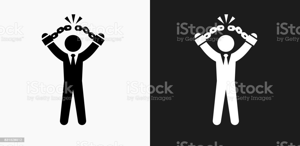 Businessman Breaking Shackles Icon on Black and White Vector Backgrounds vector art illustration