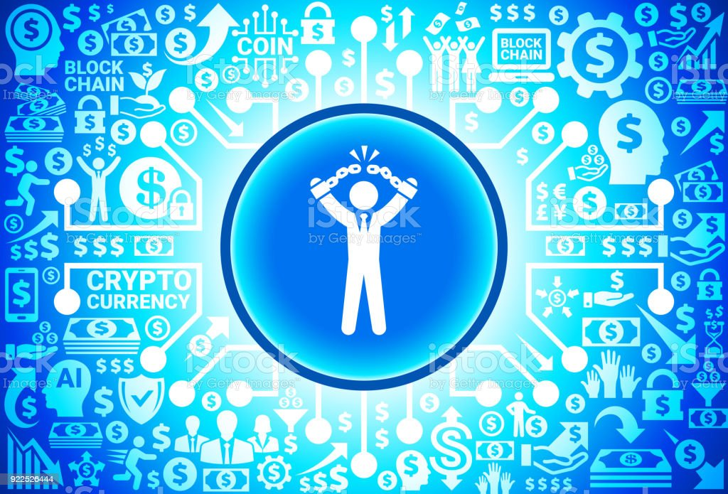 Businessman Breaking Shackles Icon on Money and Cryptocurrency Background vector art illustration