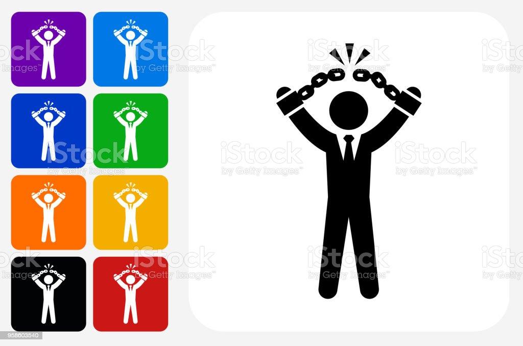 Businessman Breaking Shackles Icon Square Button Set vector art illustration
