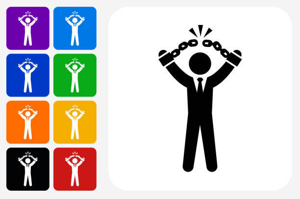 Businessman Breaking Shackles Icon Square Button Set vector art illustration