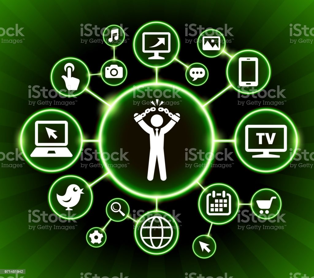 Businessman Breaking Shackles Internet Communication Technology Dark Buttons Background vector art illustration