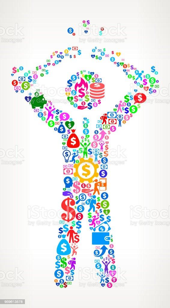 Businessman Breaking Shackles Money Vector Icon Pattern vector art illustration