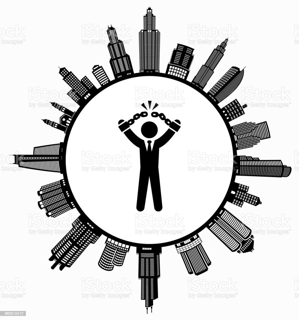Businessman Breaking Shackles on Modern Cityscape Skyline Background vector art illustration