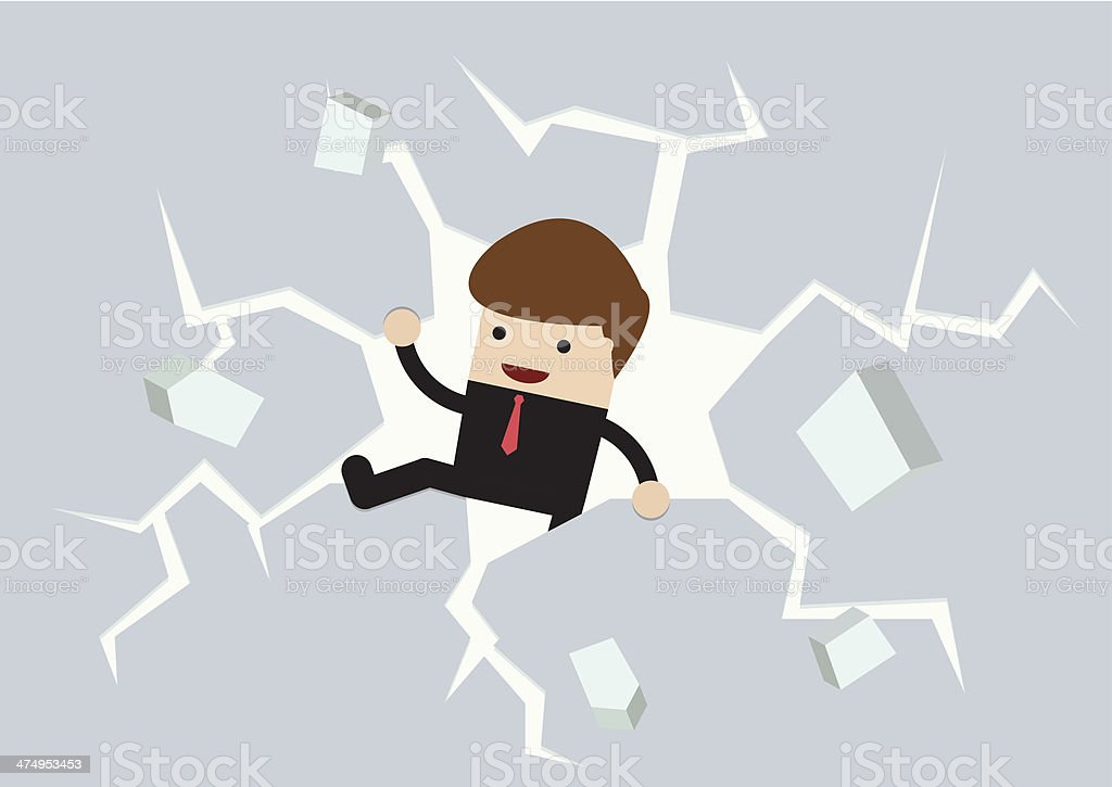 Businessman breaking the wall to Freedom vector art illustration