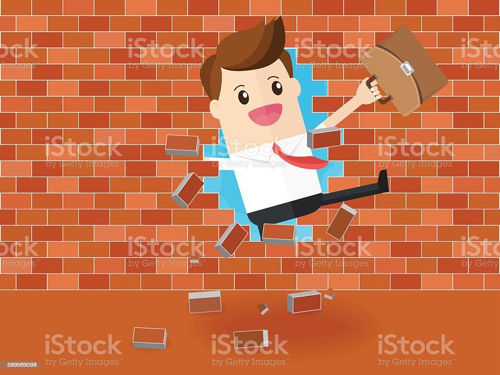 businessman breaking through a brick wall vector art illustration