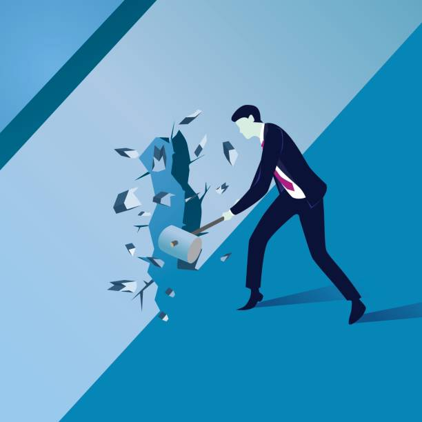 Businessman Breaking Wall of Obstacle vector art illustration