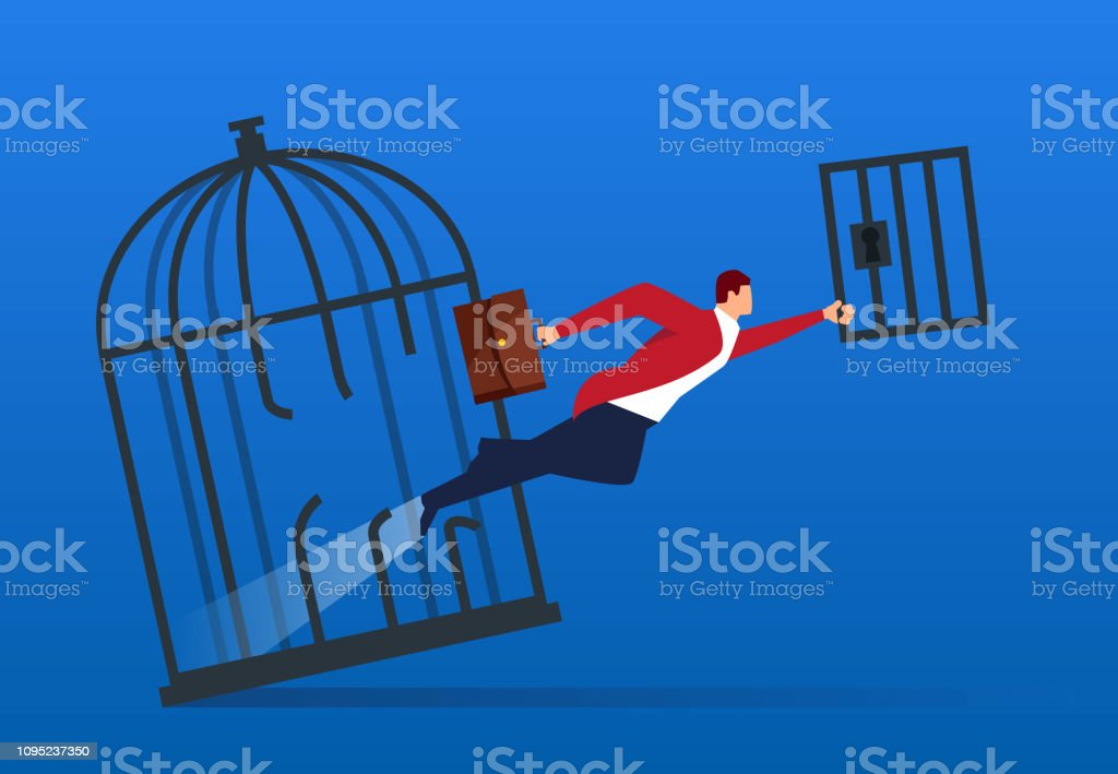 Businessman breaks the cage and flies out vector art illustration