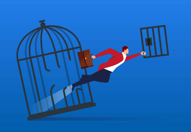 Businessman breaks the cage and flies out Businessman breaks the cage and flies out escaping stock illustrations