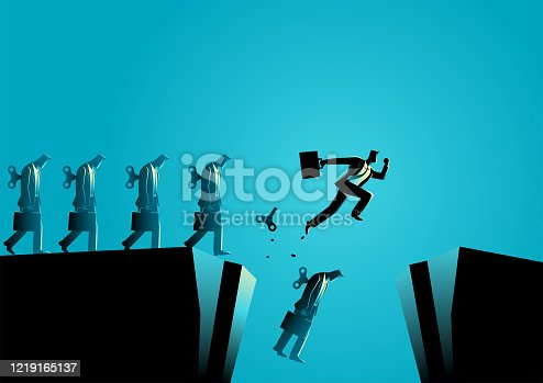 Business concept vector illustration of a businessman broke free from his winder to save his life from falling into ravine. Free will, freedom concept