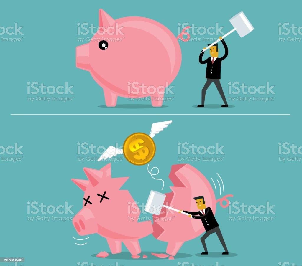 Businessman broken piggy bank vector art illustration