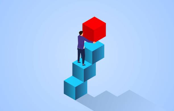 Businessman building step by step higher, career development concept vector art illustration