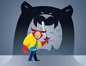 businessman bull defending bear