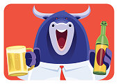 vector illustration of businessman bull holding mug of beer and cheering